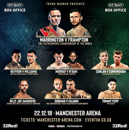 Warrington vs Frampton full Undercard