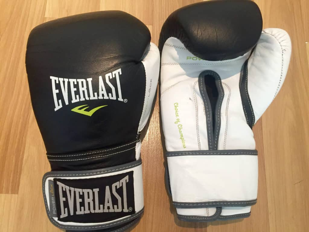 Everlast Powerlock Boxing Gloves black and white