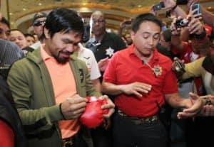 manny pacquiao signing gloves