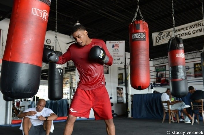 Errol spence using the heavy bag